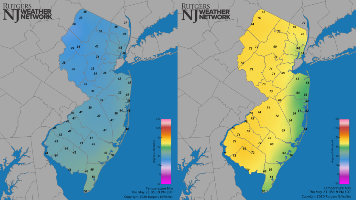 May 21st minimum and maximum temperature maps