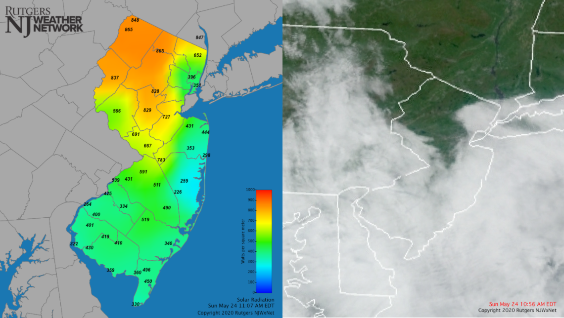 Solar radiation and visible satellite image from May 24th