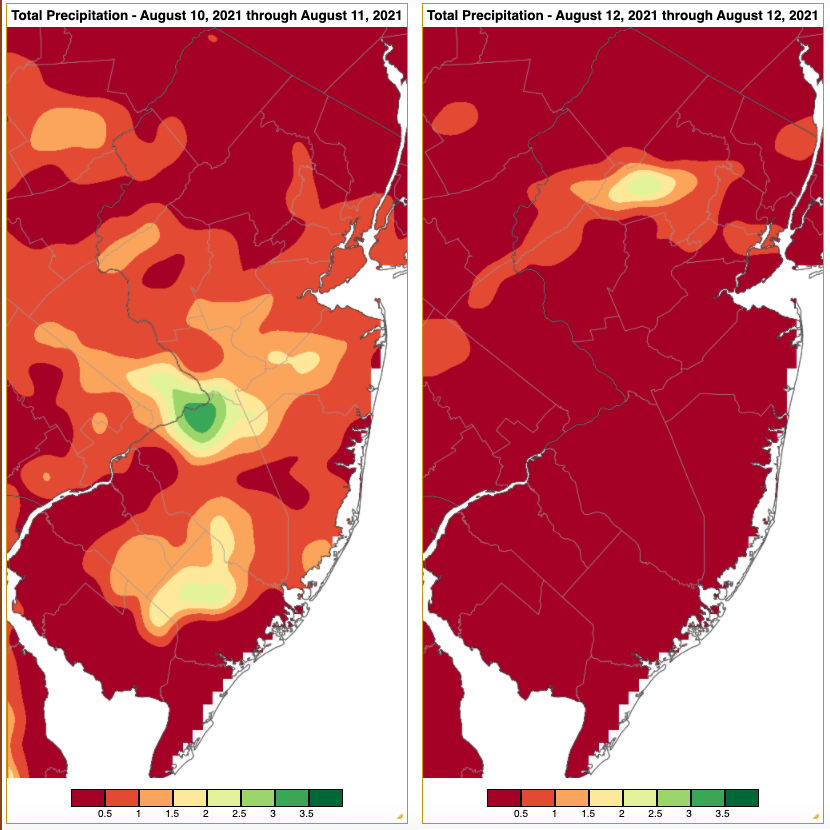 Rainfall from approximately 7 AM on August 9th to 7 AM on August 11th (left) and from approximately 7 AM on August 11th to 7 AM on August 12th (right) based on an analysis generated using NWS Cooperative and CoCoRaHS observations