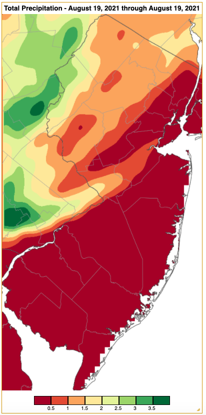 Rainfall from approximately 7 AM on August 18th to 7 AM on August 19th based on an analysis generated using NWS Cooperative and CoCoRaHS observations