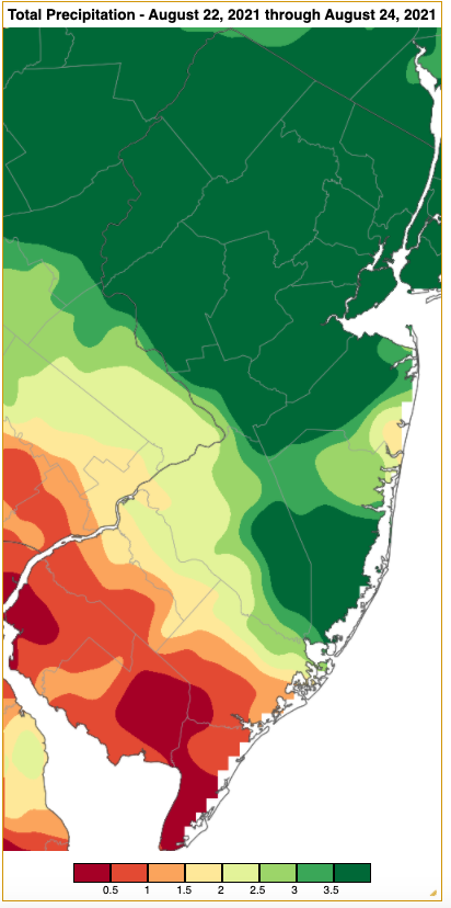 Rainfall from approximately 7 AM on August 21st to 7 AM on August 24th based on an analysis generated using NWS Cooperative and CoCoRaHS observations