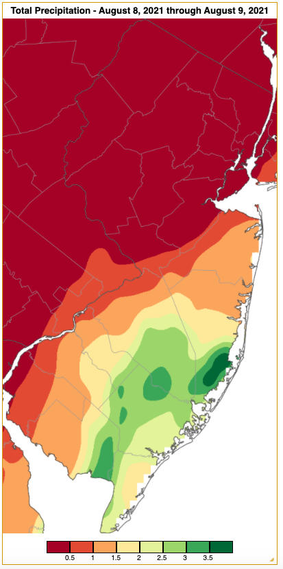 Rainfall from approximately 7 AM on August 7th to 7 AM on August 9th based on an analysis generated using NWS Cooperative and CoCoRaHS observations