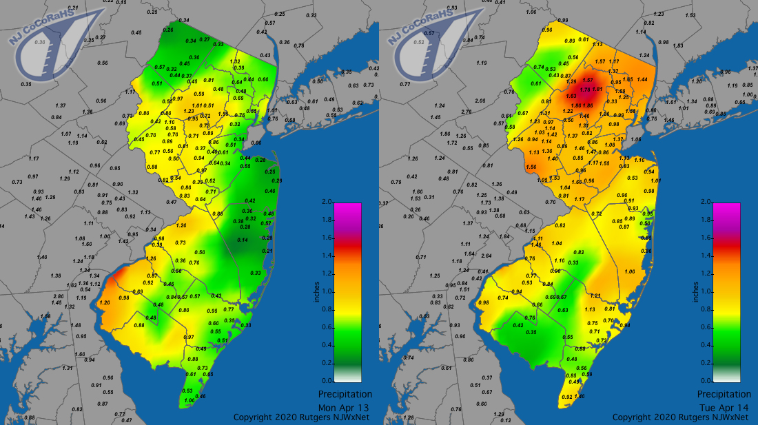 Precipitation maps for April 13th and 14th