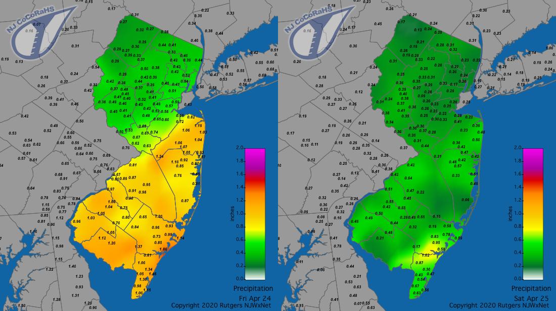 Precipitation maps for April 24th and 25th