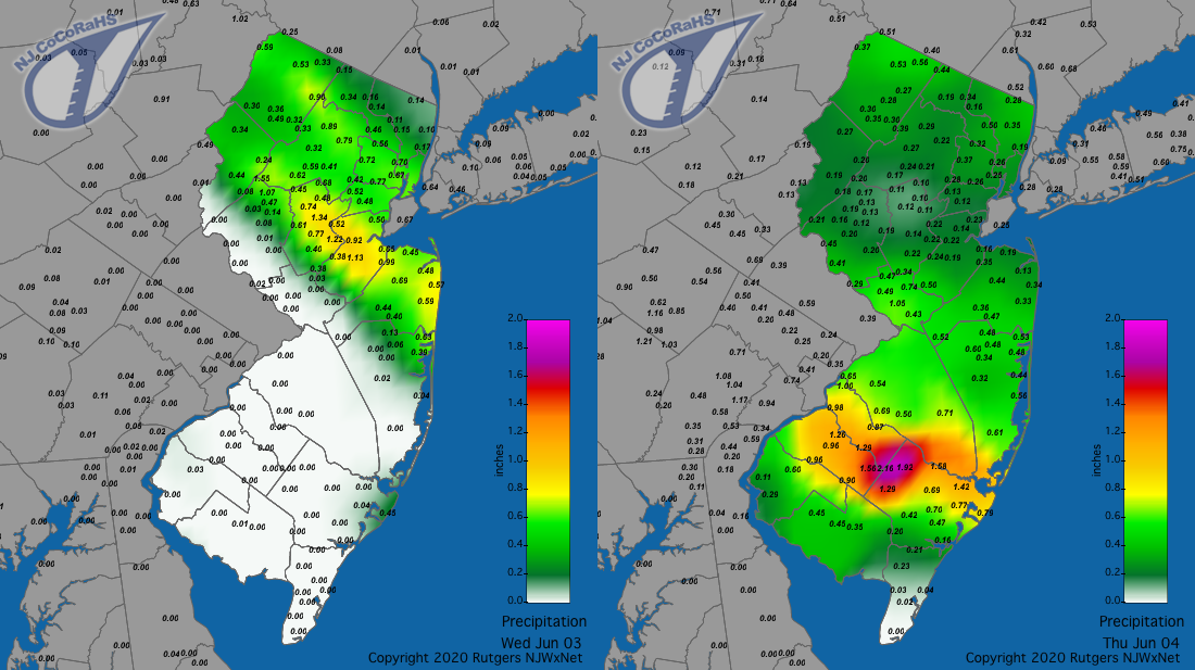 Precipitation maps for June 3rd and 4th