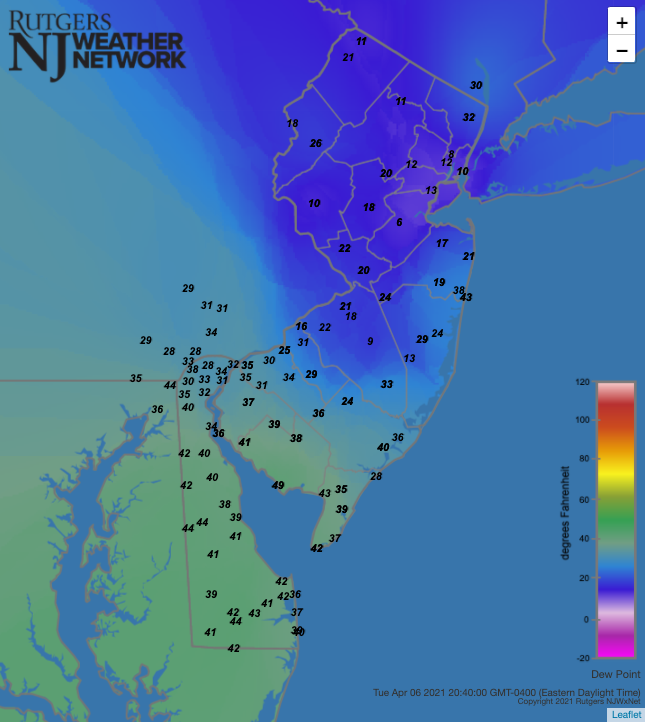 Dew point temperatures at 8:40 PM on April 6th at NJWxNet stations