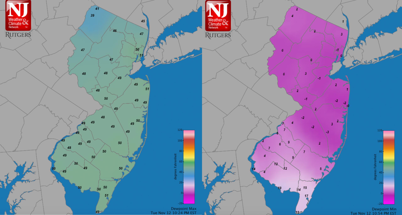 Daily maximum and minimum dewpoint map, November 12th