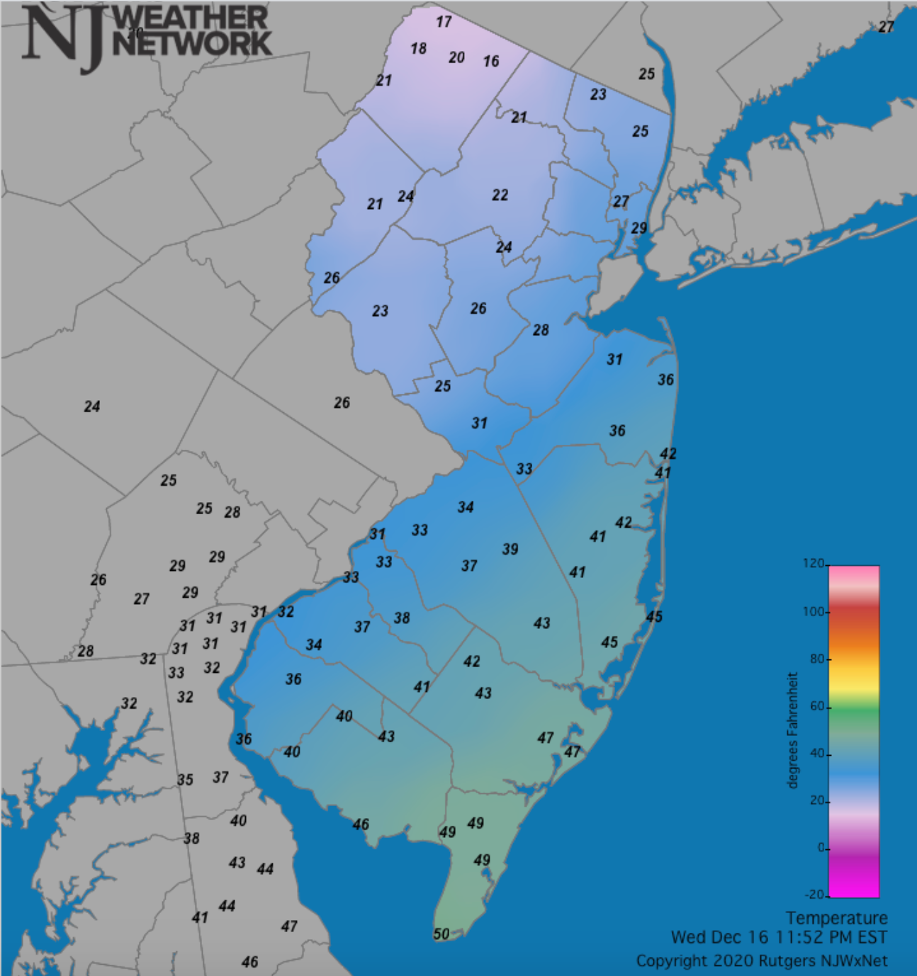 NJ temperature map at 11:52 PM on December 16th