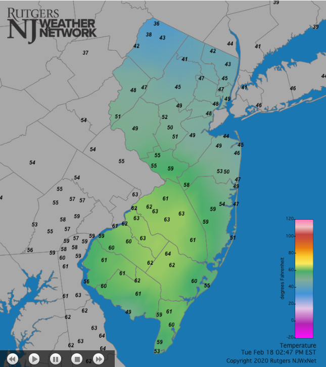 Temperatures across NJ and surrounding states at 2:45PM on February 18th