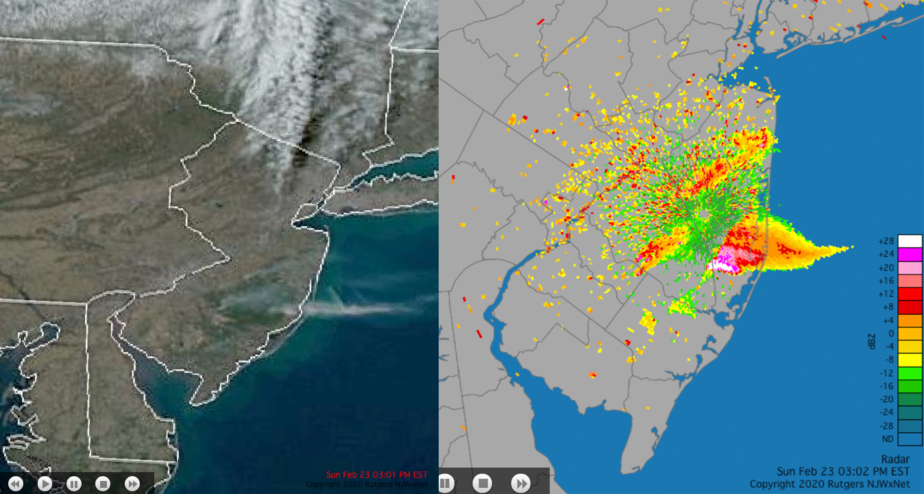 Smoke from controlled burn as seen by satellite and radar