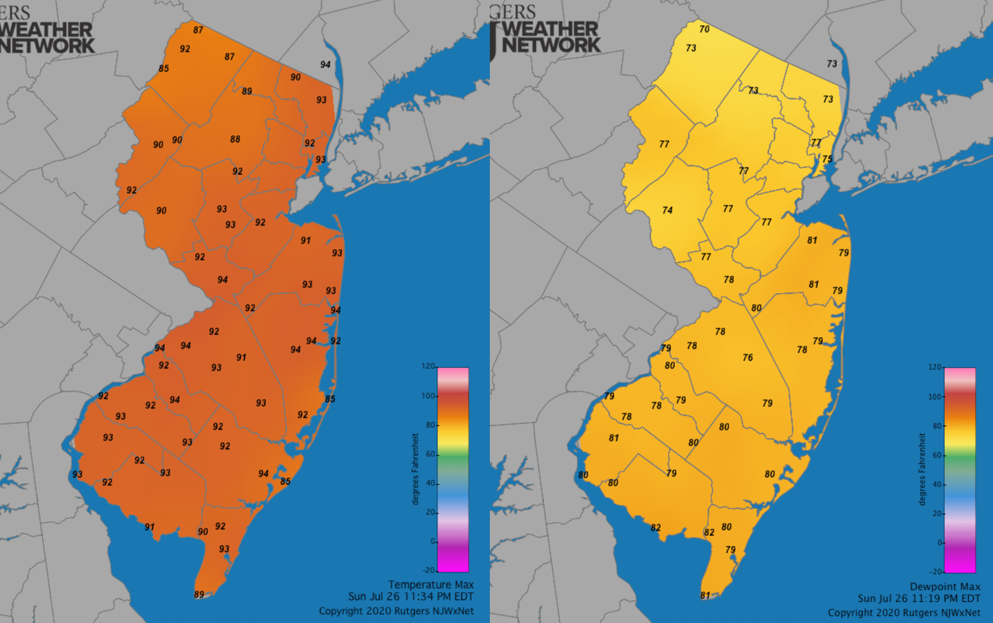 July 26th maximum daily temperature and dewpoint maps