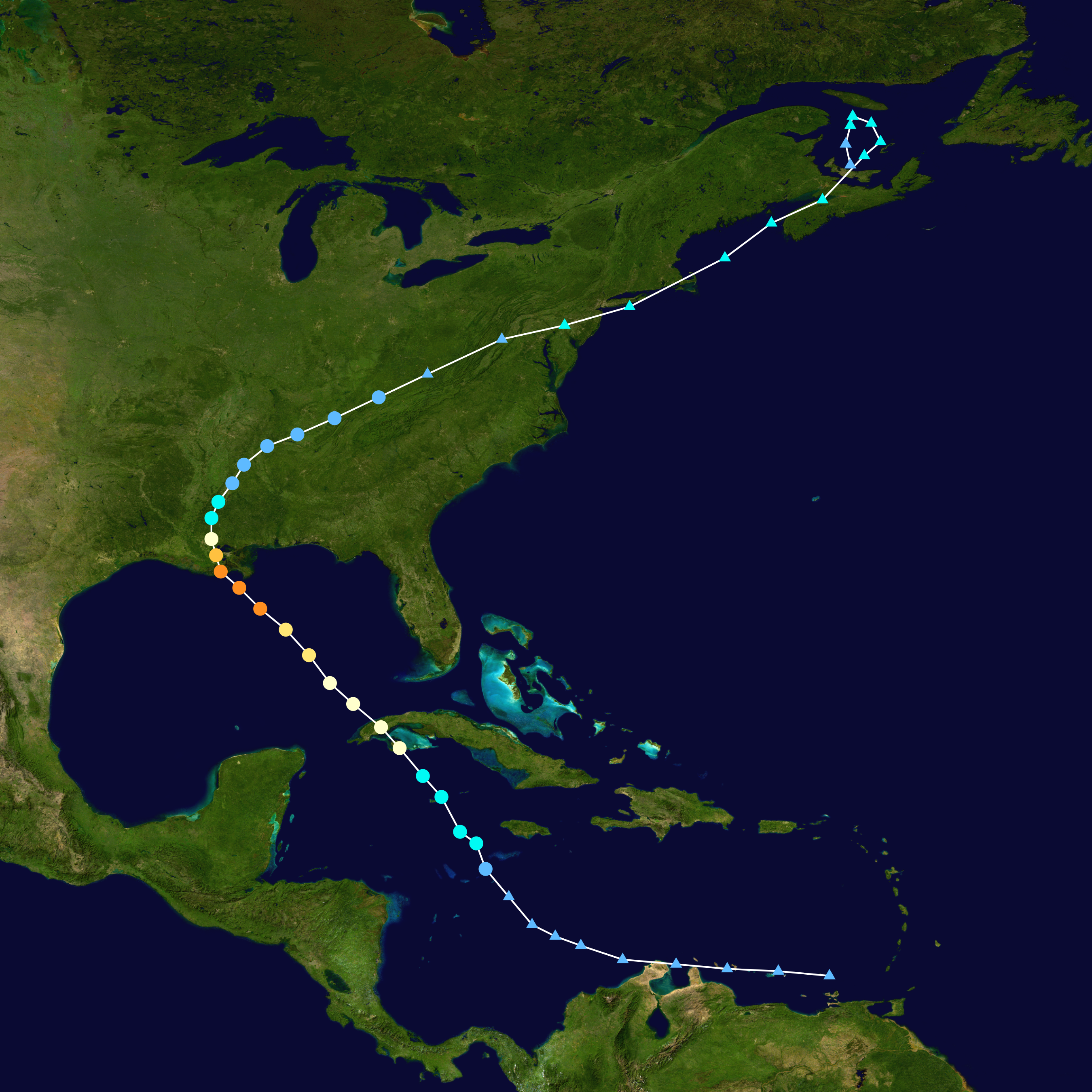 The path of Ida from the Caribbean into Atlantic Canada from August 23rd to September 4th.