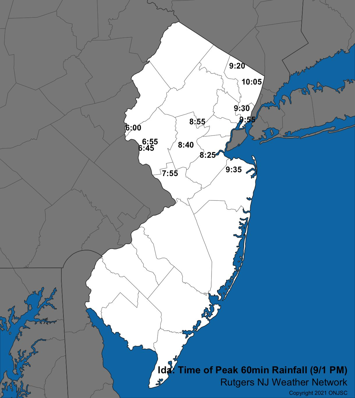 """Time of the end of the heaviest hourly rainfall total at NJWxNet stations that received at least 1.50"""" in an hour."""