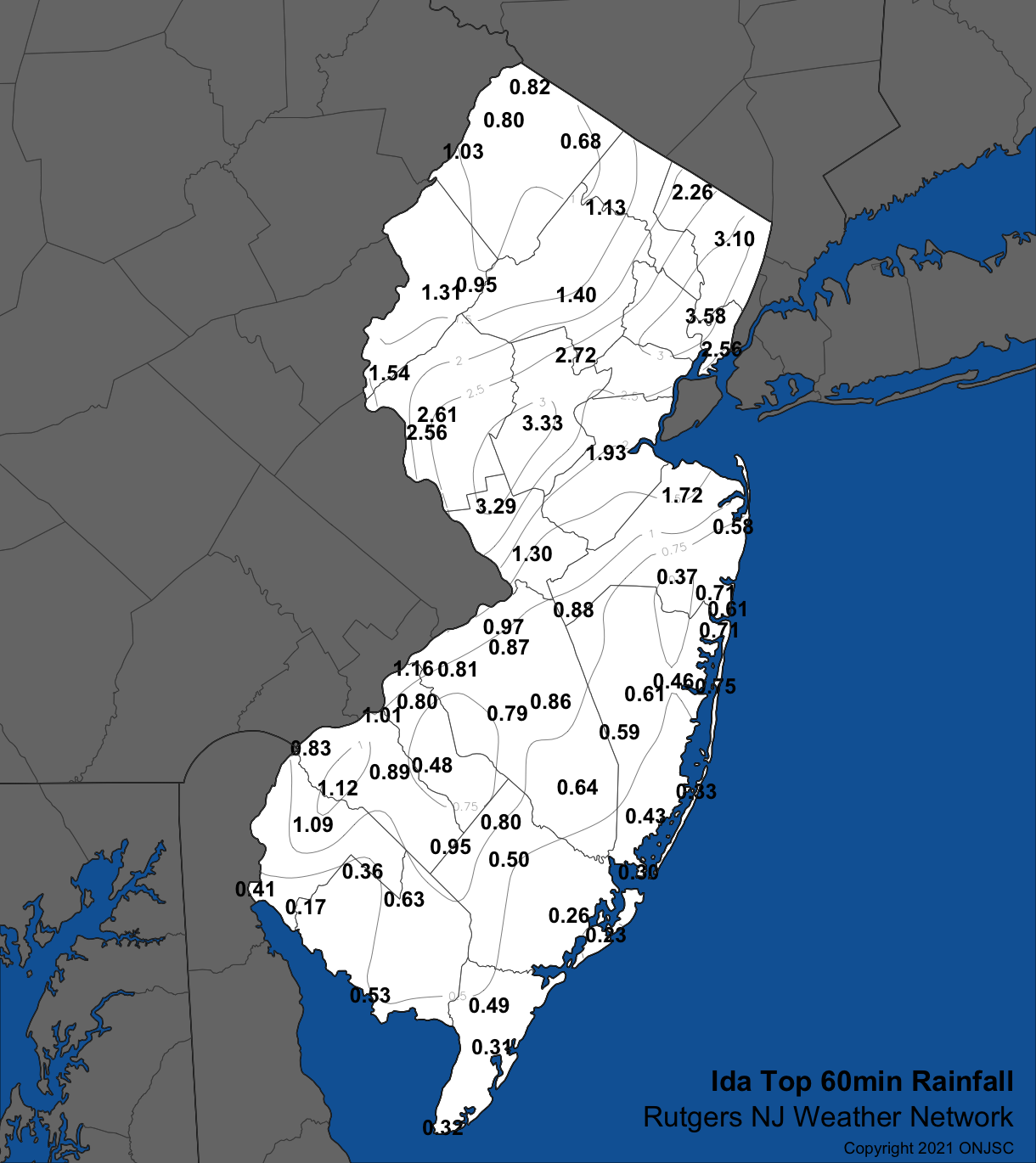 Peak one-hour rainfall across NJ based on observations from Rutgers NJWxNet stations and the Newark Airport NWS station.