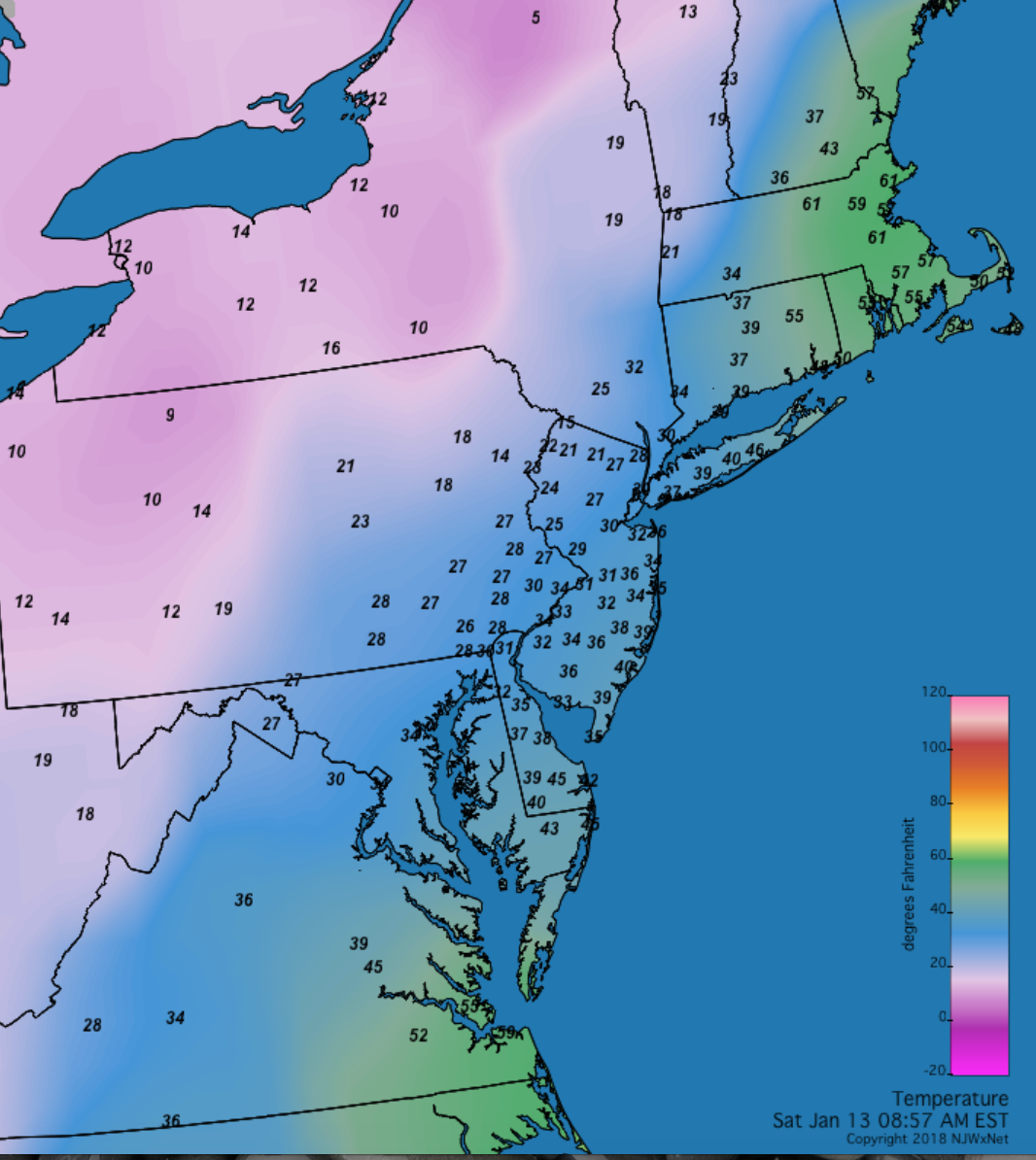 Mid-Atlantic temperatures at 8:57AM on January 13th