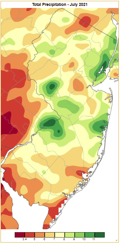 Rainfall from approximately 7 AM on June 30th to 7 AM on July 31st based on an analysis generated using NWS Cooperative and CoCoRaHS observations