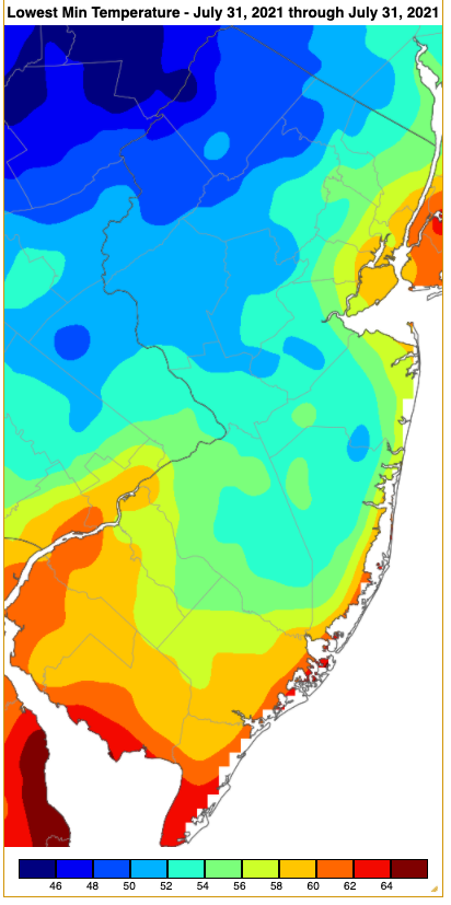 Minimum temperatures on July 31st based on an analysis generated using NWS, NJWxNet, and other professional weather stations