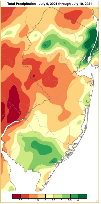 Rainfall from approximately 7 AM on July 8th to 7 AM on July 10th based on an analysis generated using NWS Cooperative and CoCoRaHS observations