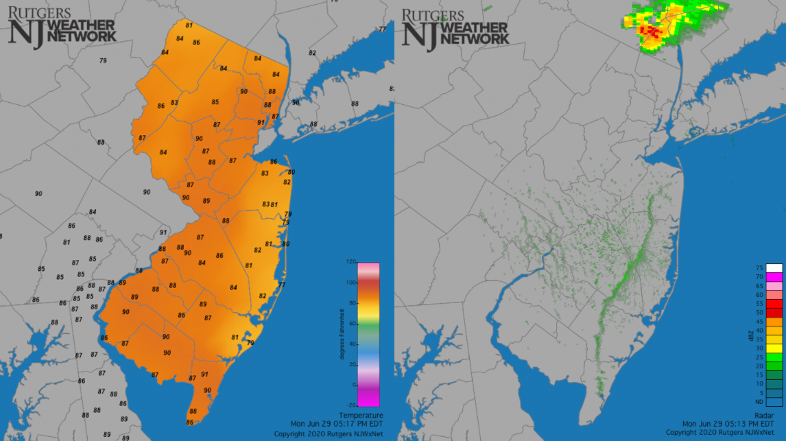 Sea breeze on June 29th as seen on temperature and radar maps