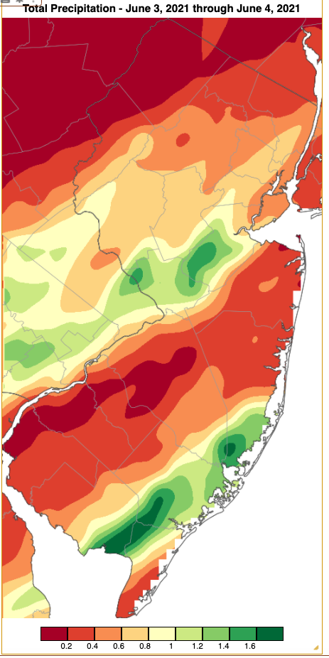 Rainfall from approximately 7 AM on June 2nd to 7 AM on June 4th based on an analysis generated using NWS Cooperative and CoCoRaHS observations