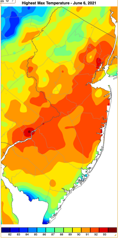 Maximum temperatures on June 5th based on an analysis generated using NWS, NJWxNet, and other professional weather stations