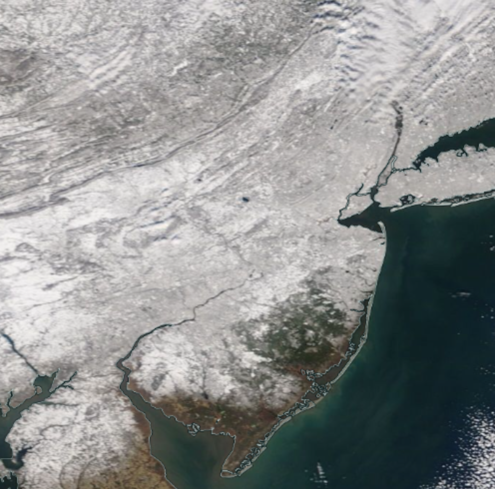 Satellite image of snow cover on the morning of February 4th