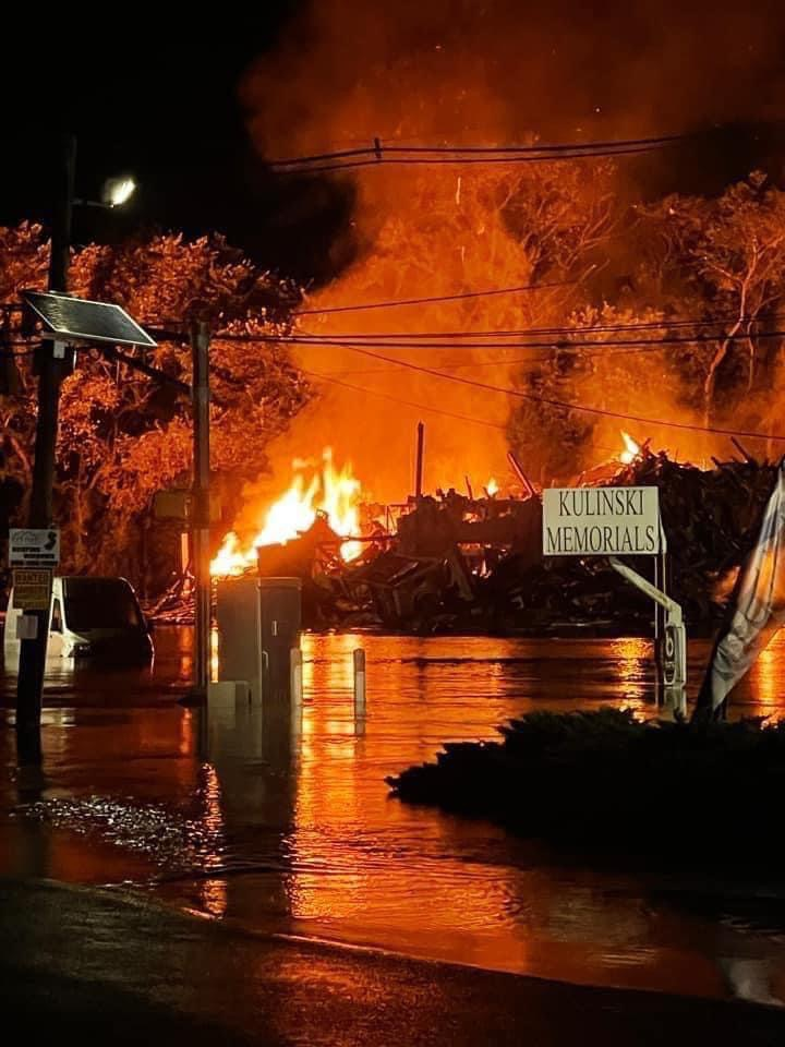 Photo of the remains the Saffron restaurant in Manville following a gas explosion early on September 3. Note the flood waters from the adjacent Millstone River still surrounding the facility.