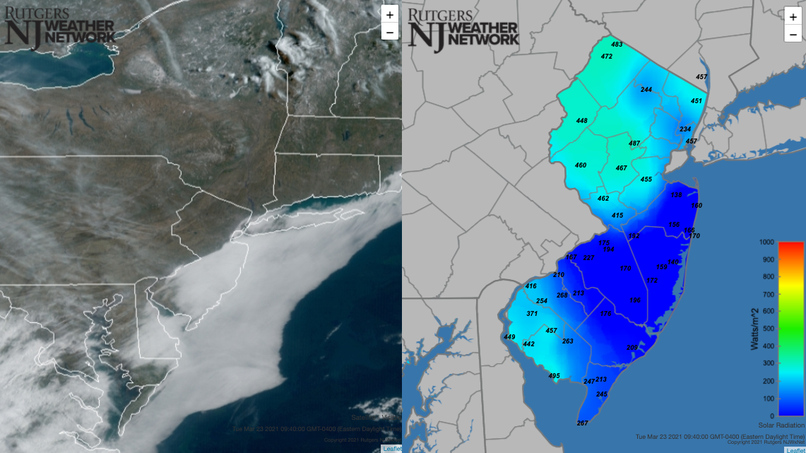 South Jersey fog at 9:40 AM on March 23rd as seen in a NOAA visible satellite image and a NJWxNet solar radiation maps