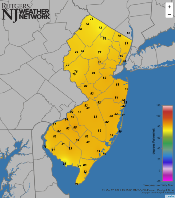 Maximum temperatures on March 26th at NJWxNet stations
