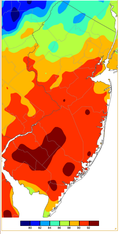 Maximum temperatures on May 23rd based on an analysis generated using NWS, NJWxNet, and other professional weather stations