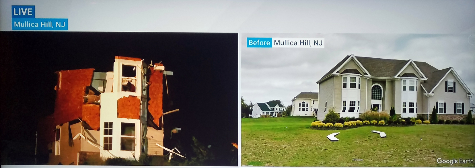 On the left, the remains of a home in the area of Mullica Hill where the EF-3 damage occurred earlier in the evening. The photo on the right shows the home prior to its destruction.