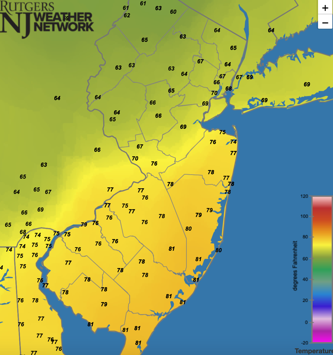 Surface air temperatures at 8:10 PM EDT on September 1st as the low was located directly in the center of the state and the heaviest rains were falling just to the north of the warm front in Somerset County (source: Rutgers NJ Weather Network).