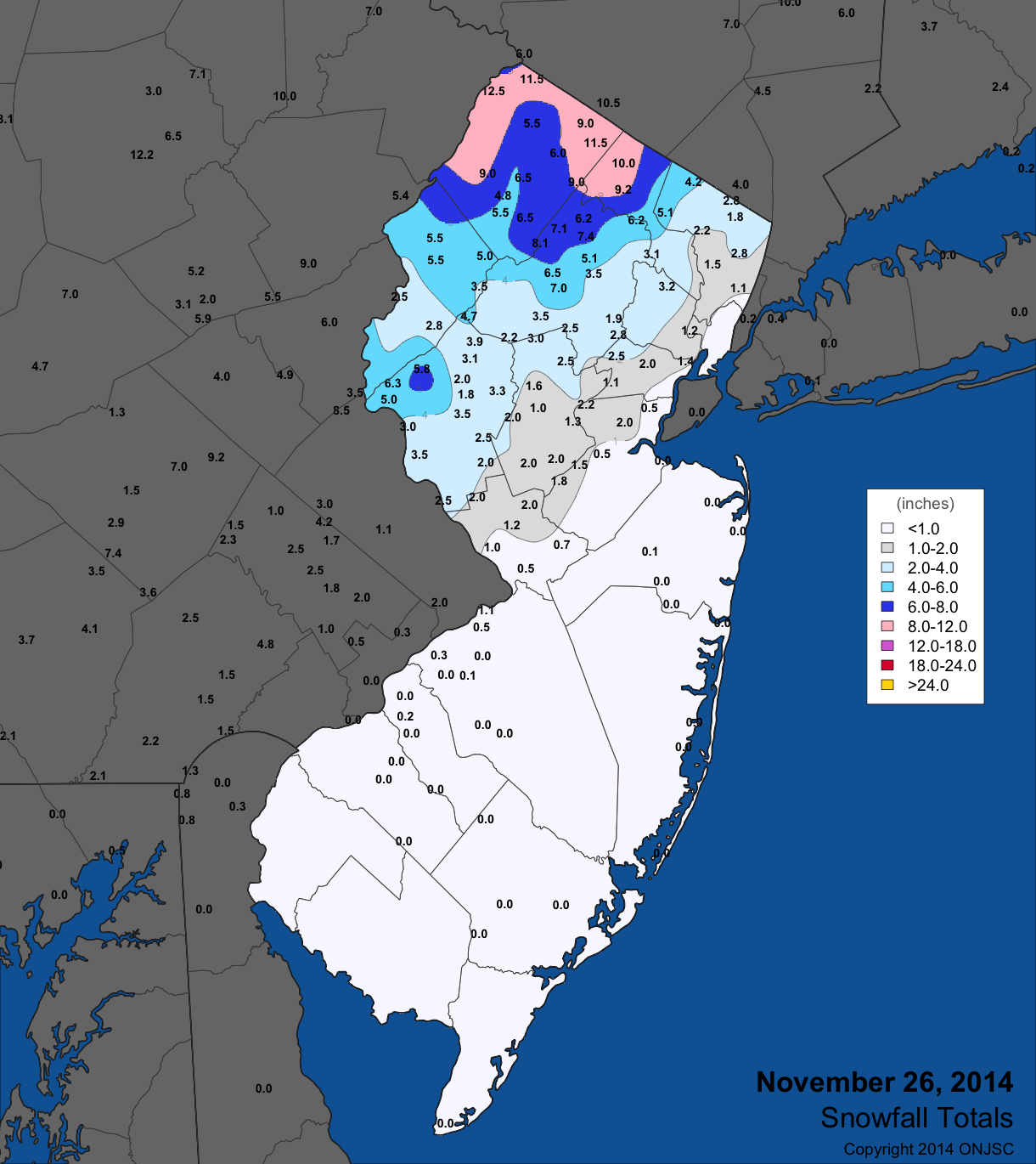Nor\'easter snow map for NJ