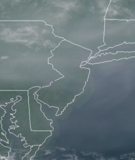 A close-up satellite view of the smoky skies over New Jersey and surrounding areas at 10:55 AM EDT on July 20, 2021