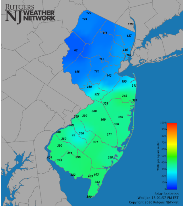 NJ solar radiation map image at 2:00 PM on January 13th