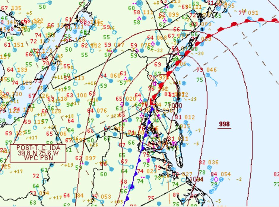 The location of the subtropical low (Ida remnants; red L) in the early evening of the 1st (00Z, 8:00 PM EDT). The associated warm front is in red and cold front is blue.