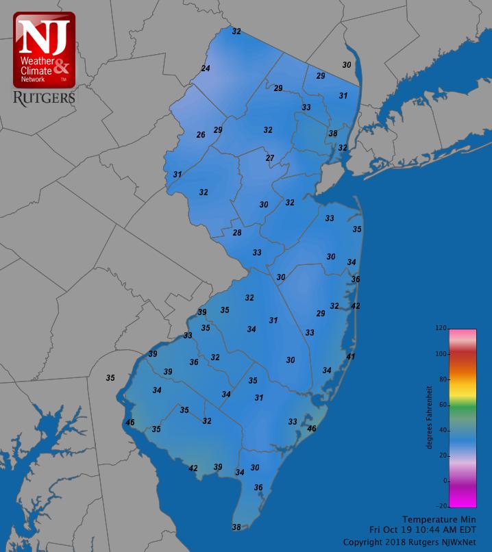 Minimum temperatures on October 19th