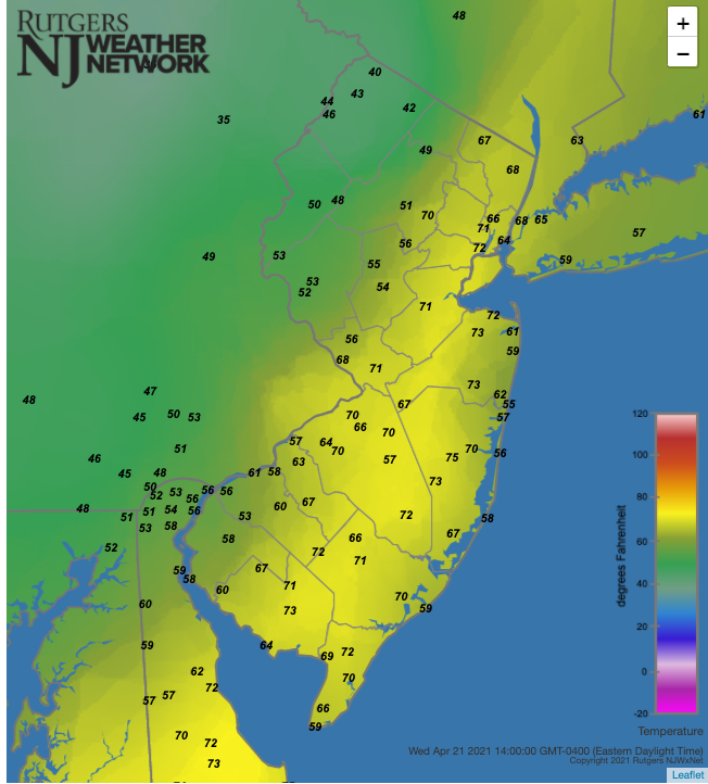 Air temperatures at 2:00 PM on April 21st at NJWxNet stations