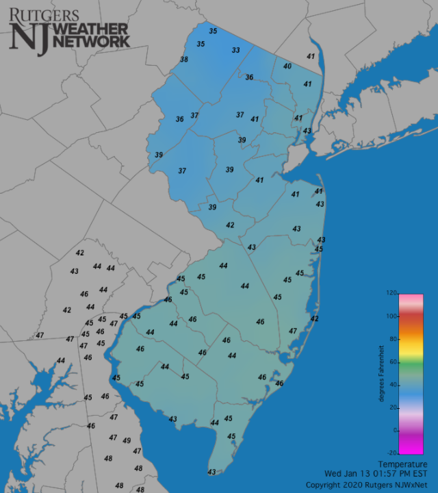 NJ temperature map at 1:57 PM on January 13th