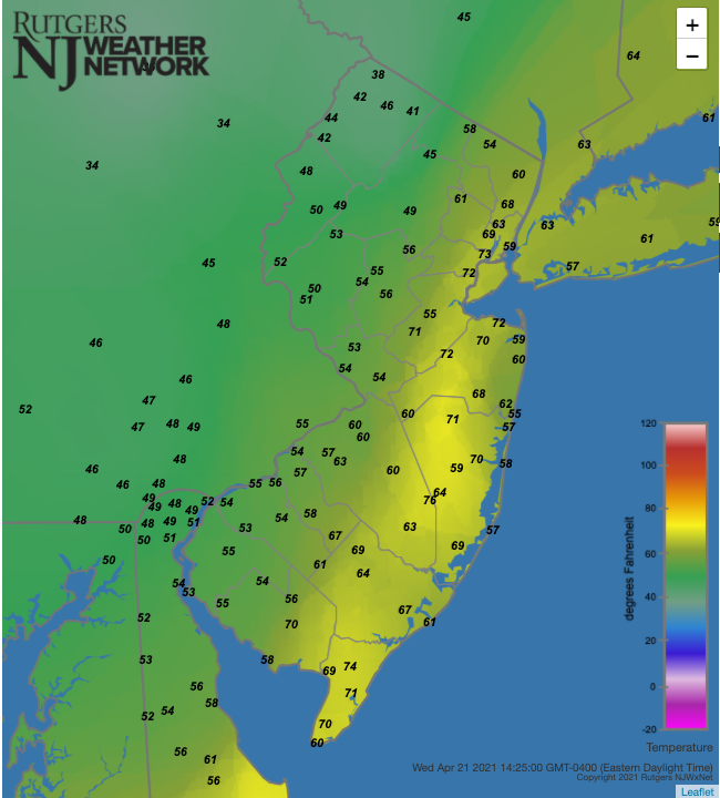 Air temperatures at 2:25 PM on April 21st at NJWxNet stations