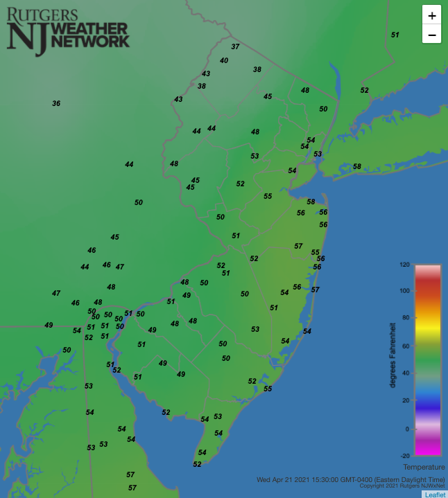 Air temperatures at 3:30 PM on April 21st at NJWxNet stations