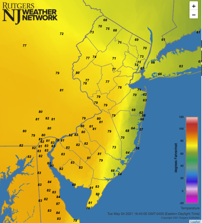 Air temperatures at 4:45 PM on May 4th at NJWxNet stations