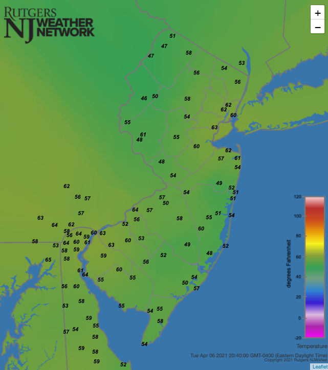 Air temperatures at 8:40 PM on April 6th at NJWxNet stations