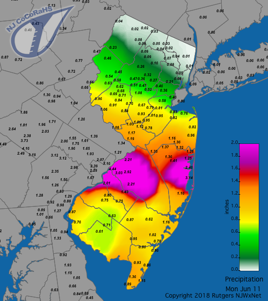 Rainfall map for May 26-27