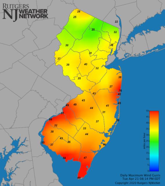 Maximum wind gust map on April 21st