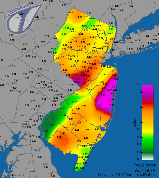 Rainfall map for July 18th