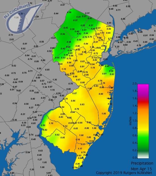 Precipitation map for April 14th-15th