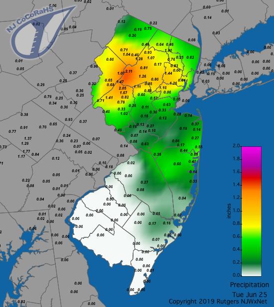 Precipitation map for June 24th-25th