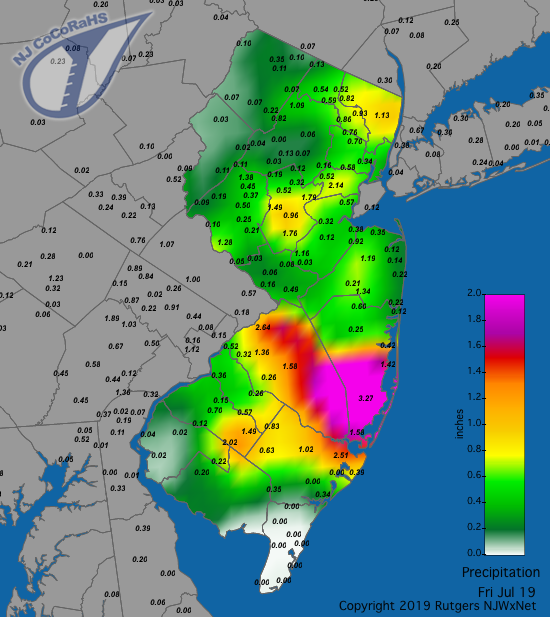 Precipitation map for July 18th-19th