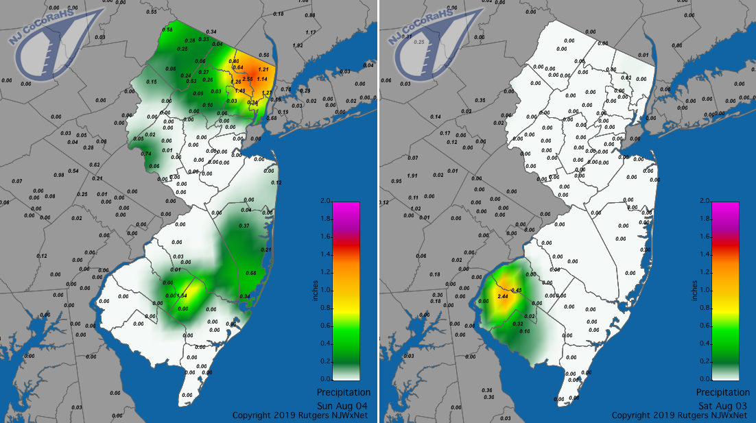 Precipitation maps for August 3rd and 4th